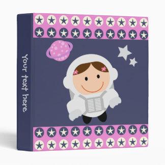 Pink and Blue Stars Spacegirl Vinyl Binder