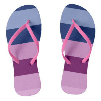 Pink and Blue Striped Fun Flip Flops