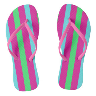 Pink and blue stripes flip flops