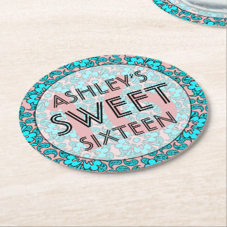 Pink And Blue Sweet 16 Birthday Party  Coasters