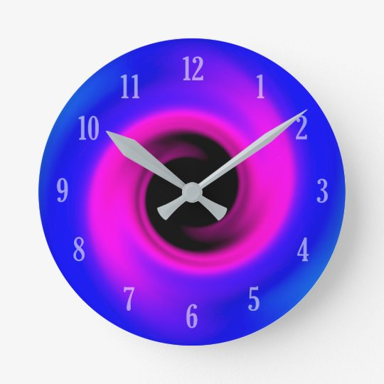 Pink and blue swirling black hole round clock