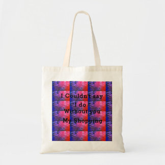 Pink and Blue ,texted Budget Tote