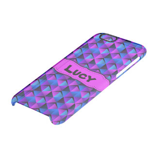 Pink and Blue Triangle Confetti Customisable Clear iPhone 6/6S Case