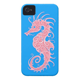 Pink and Blue Tribal Seahorse iPhone 4 Case-Mate Case