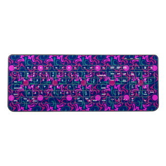 Pink and Blue Tribal Swirl Seamless Pattern Wireless Keyboard