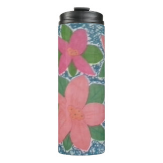 Pink and Blue Tropical Flowers  Pattern Tumbler