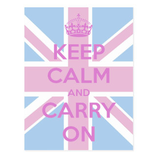 Pink and Blue Union Jack Postcard