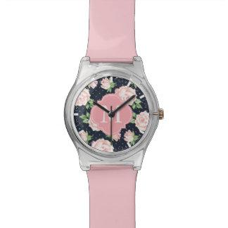 Pink and Blue Vintage Roses Pattern Monogrammed Wrist Watch