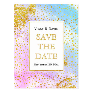 Pink and blue watercolor wedding Save the Date Postcard