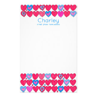 Pink and blue watercolour hearts personalised stationery