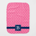 Pink and Blue Whimsical Whales Pattern Monogram Burp Cloth