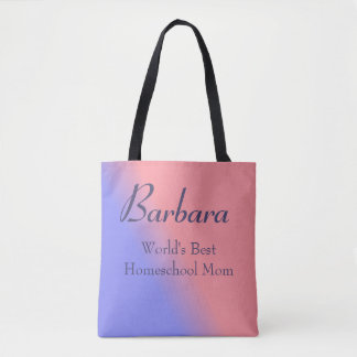 Pink and Blue World's Best Homeschool Mom Tote Bag