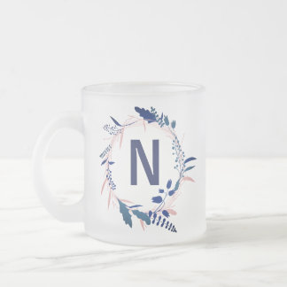 Pink and Blue Wreath Monogram | Frosted Mug