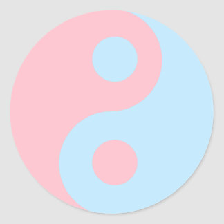 Pink and Blue Yin Yang Symbol Classic Round Sticker