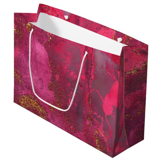 Pink and Blush Rose Gold Ink Gemstone Marble Pink Large Gift Bag