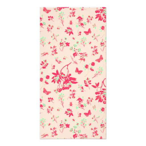 Pink and Bright Green Floral Print Picture Card