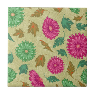 Pink and Bright Teal Vintage Floral Tile