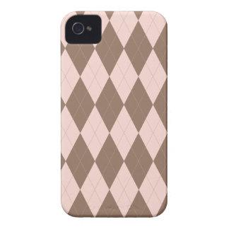 Pink and Brown Argyle Pattern Blackberry Case