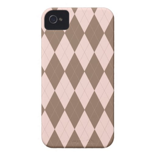Pink and Brown Argyle Pattern Blackberry Case