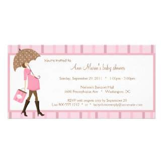 Pink And Brown Baby Shower Invitation Customized Photo Card