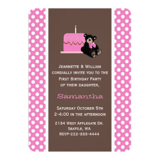 Pink and Brown Baby's First Birthday Invitation
