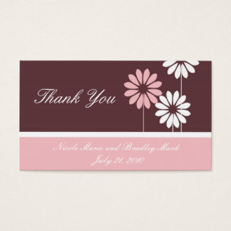 Pink and Brown  Daisy Wedding Thank You Card