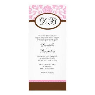 Pink and Brown Damask Monogram Wedding Invitation