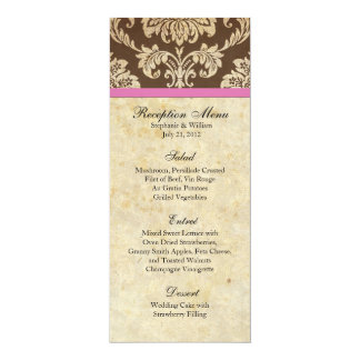 "Pink and Brown Damask Reception Menu 4"" X 9.25"" Invitation Card"
