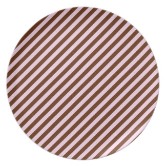 Pink and Brown Diagonal Stripes Plate