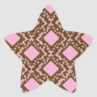 pink and brown diamond chic damask stickers