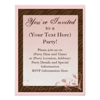 Pink and Brown Feminine Invitation