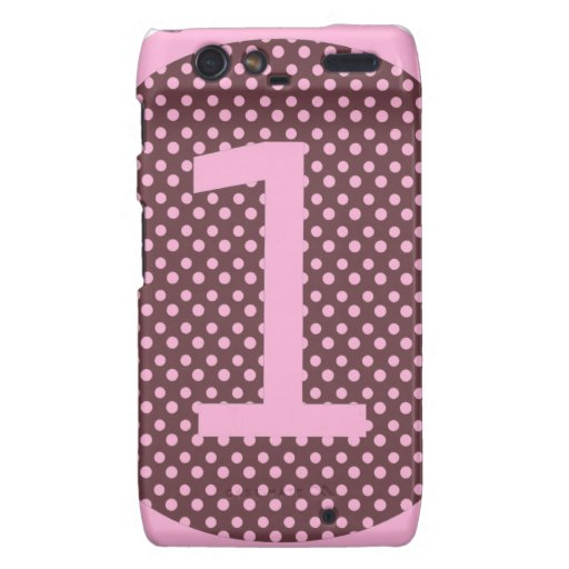 Pink and Brown First Birthday ONE Motorola Droid RAZR Cases