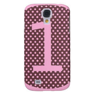Pink and Brown First Birthday ONE Samsung Galaxy S4 Cases