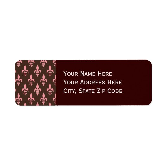 Pink and Brown Fleur De Lis Return Address Label