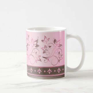 Pink and Brown Floral Ceramic Mug