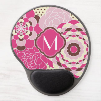 Pink and Brown Floral Design Modern Flowers Gel Mouse Pad