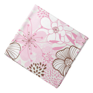 Pink and Brown Floral Pattern Kerchief