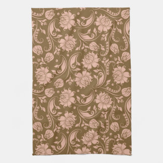 Pink and Brown Floral Pattern Kitchen Towel