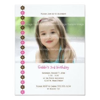 Pink and Brown Flower Photo Birthday Invitation