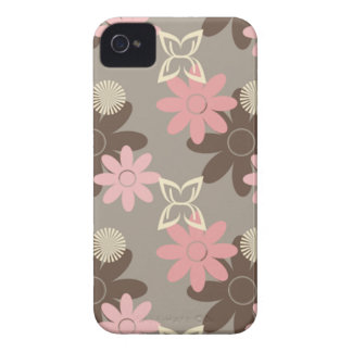 Pink and Brown Flowers iPhone 4 Case