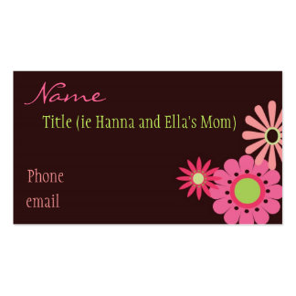 Pink and Brown Flowers Mommy Card Business Card Templates