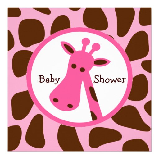 pink and brown giraffe girl baby shower square invitation card