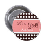 """Pink and Brown """"It's a Girl"""" button"""
