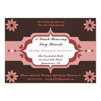 Pink and Brown Ladies' Luncheon Custom Invitations