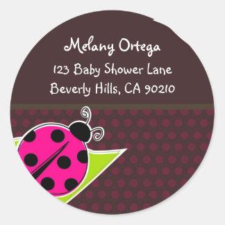 Pink and Brown Ladybug Address Labels