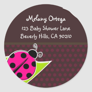 Pink and Brown Ladybug Address Labels Round Sticker