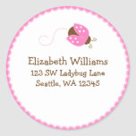 Pink and Brown Ladybug Round Address Sticker Label