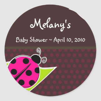 Pink and Brown Ladybug Sticker Labels