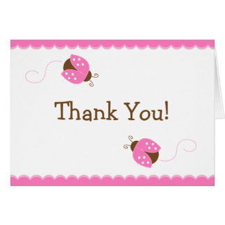 Pink and Brown Ladybug Thank You Note Card