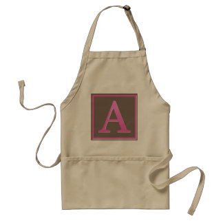 Pink and Brown Letter A Monogram Standard Apron